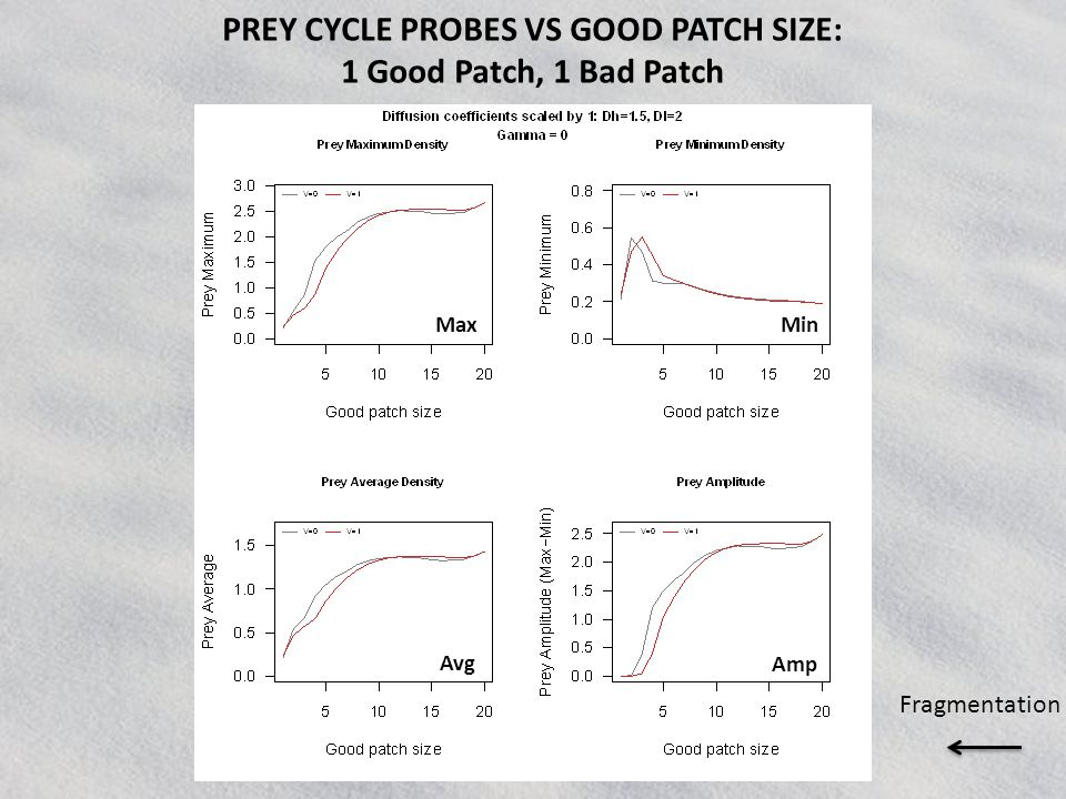 Max Avg Min Amp PREY CYCLE PROBES VS GOOD PATCH SIZE: 1 Good Patch, 1 Bad Patch Fragmentation