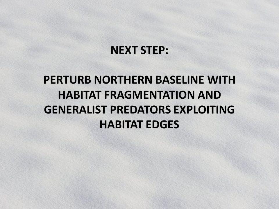 NEXT STEP: PERTURB NORTHERN BASELINE WITH HABITAT FRAGMENTATION AND GENERALIST PREDATORS EXPLOITING HABITAT EDGES