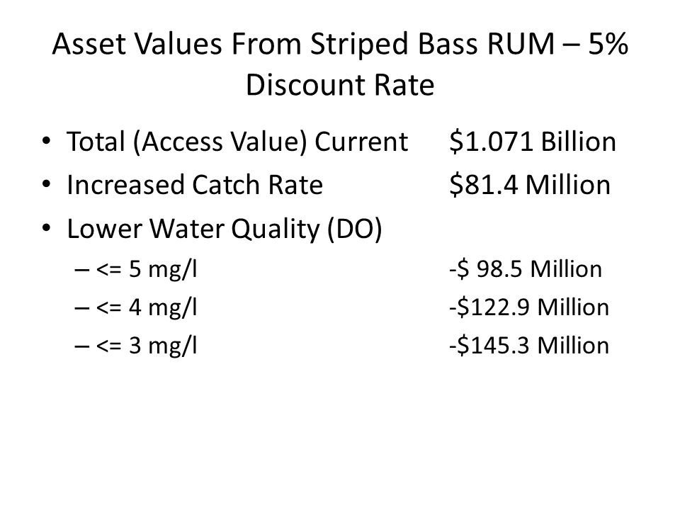 Asset Values From Striped Bass RUM – 5% Discount Rate Total (Access Value) Current$1.071 Billion Increased Catch Rate$81.4 Million Lower Water Quality (DO) – <= 5 mg/l-$ 98.5 Million – <= 4 mg/l-$122.9 Million – <= 3 mg/l-$145.3 Million