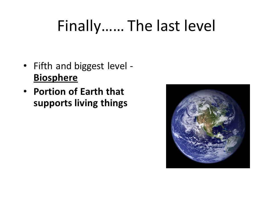 Finally…… The last level Fifth and biggest level - Biosphere Portion of Earth that supports living things