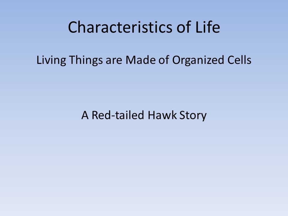 Characteristics of Life Living Things are Made of Organized Cells A Red-tailed Hawk Story