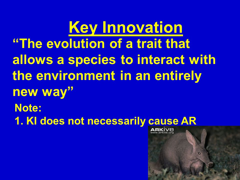 """The evolution of a trait that allows a species to interact with the environment in an entirely new way"" Key Innovation Note: 1. KI does not necessari"