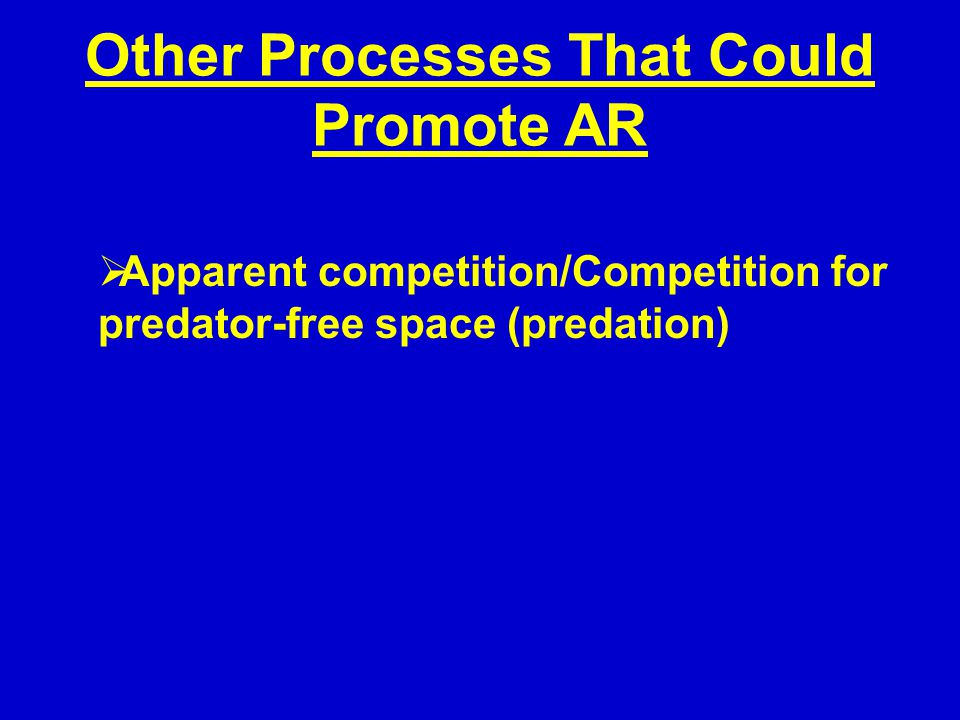 Other Processes That Could Promote AR  Apparent competition/Competition for predator-free space (predation)