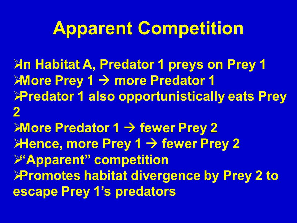 Apparent Competition  In Habitat A, Predator 1 preys on Prey 1  More Prey 1  more Predator 1  Predator 1 also opportunistically eats Prey 2  More Predator 1  fewer Prey 2  Hence, more Prey 1  fewer Prey 2  Apparent competition  Promotes habitat divergence by Prey 2 to escape Prey 1's predators