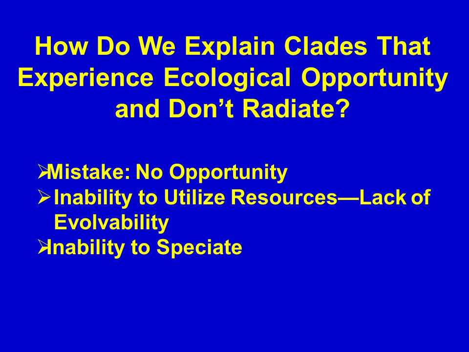 How Do We Explain Clades That Experience Ecological Opportunity and Don't Radiate.