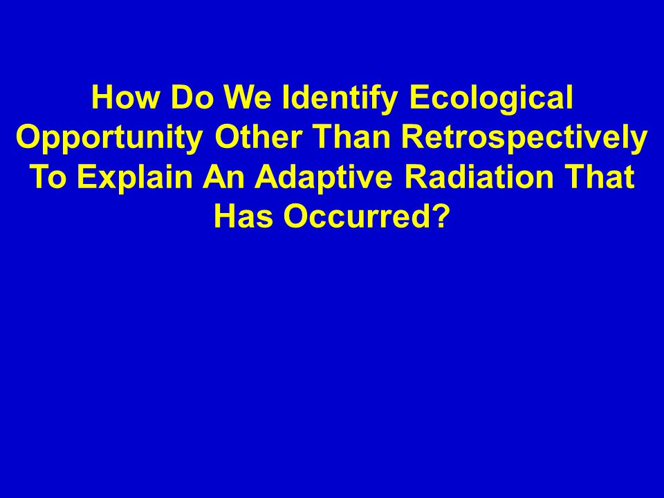 How Do We Identify Ecological Opportunity Other Than Retrospectively To Explain An Adaptive Radiation That Has Occurred.