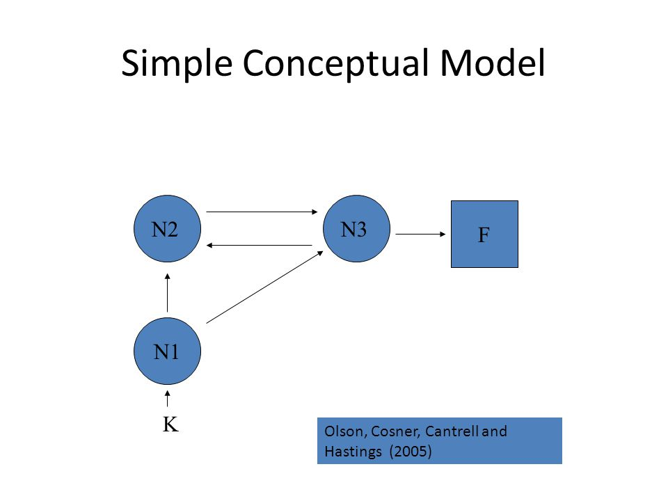 Simple Conceptual Model N1 N2N3 F K Olson, Cosner, Cantrell and Hastings (2005)
