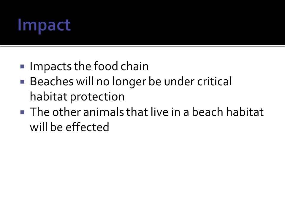  Impacts the food chain  Beaches will no longer be under critical habitat protection  The other animals that live in a beach habitat will be effected
