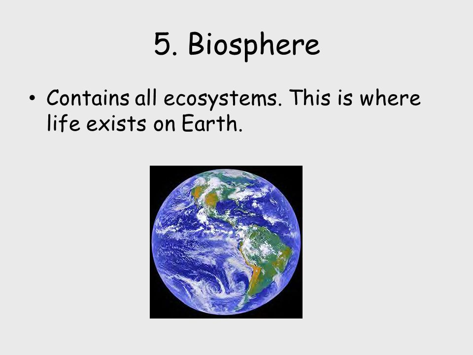 5. Biosphere Contains all ecosystems. This is where life exists on Earth.