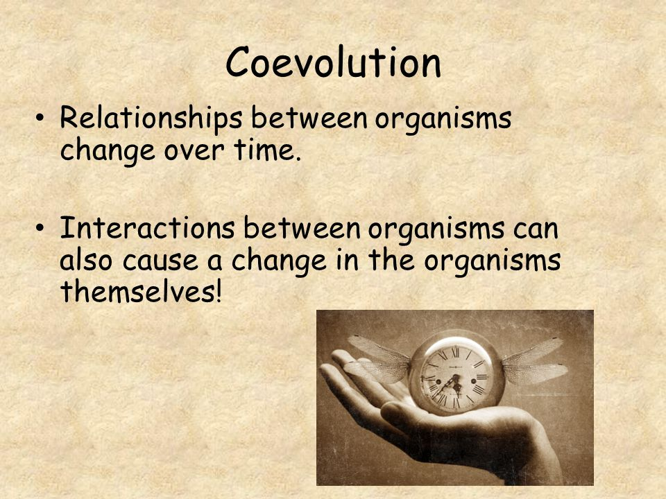 Coevolution Relationships between organisms change over time.