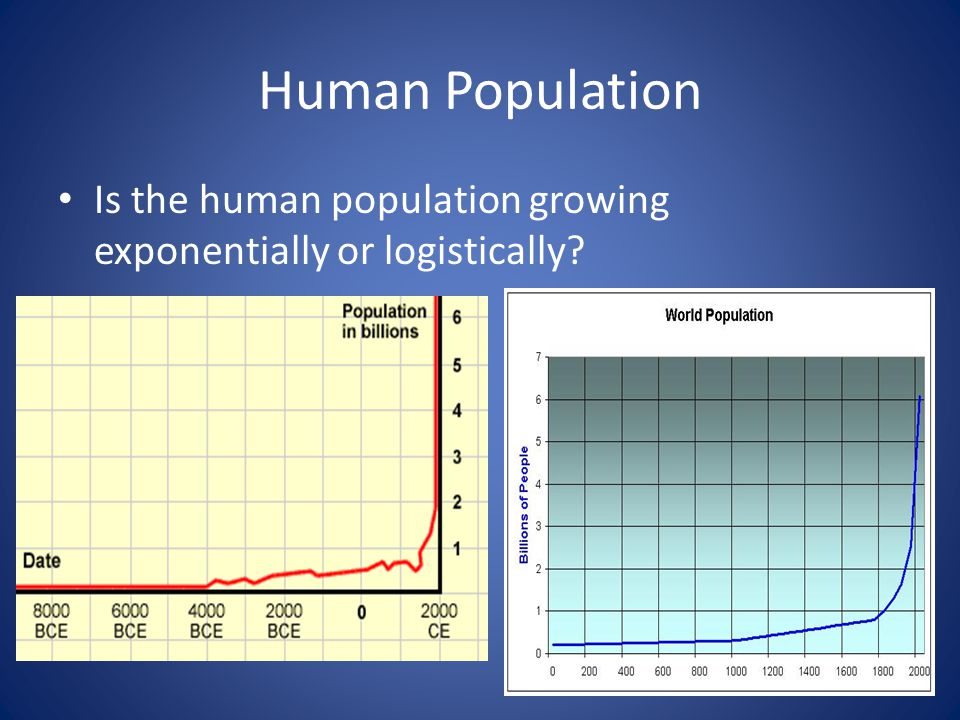 Human Population Is the human population growing exponentially or logistically