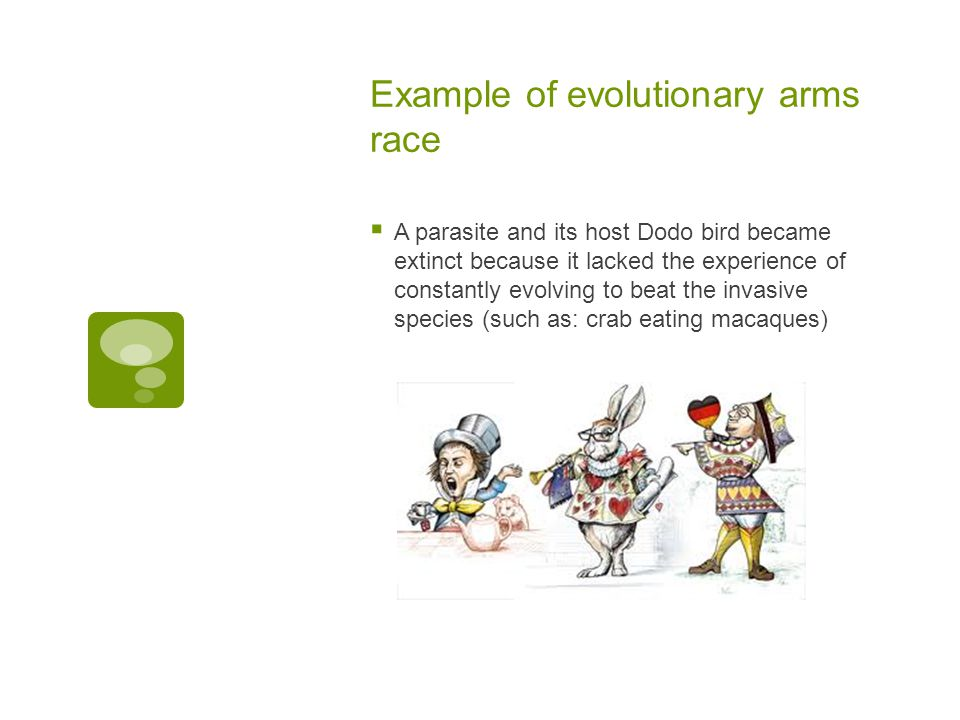 Example of evolutionary arms race  A parasite and its host Dodo bird became extinct because it lacked the experience of constantly evolving to beat t