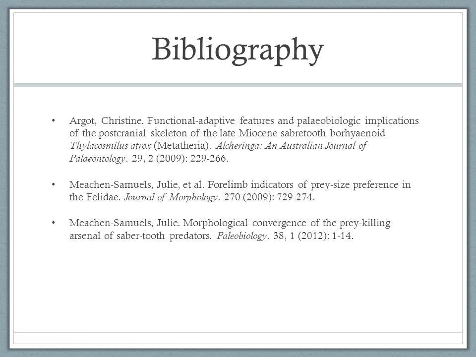 Bibliography Argot, Christine.