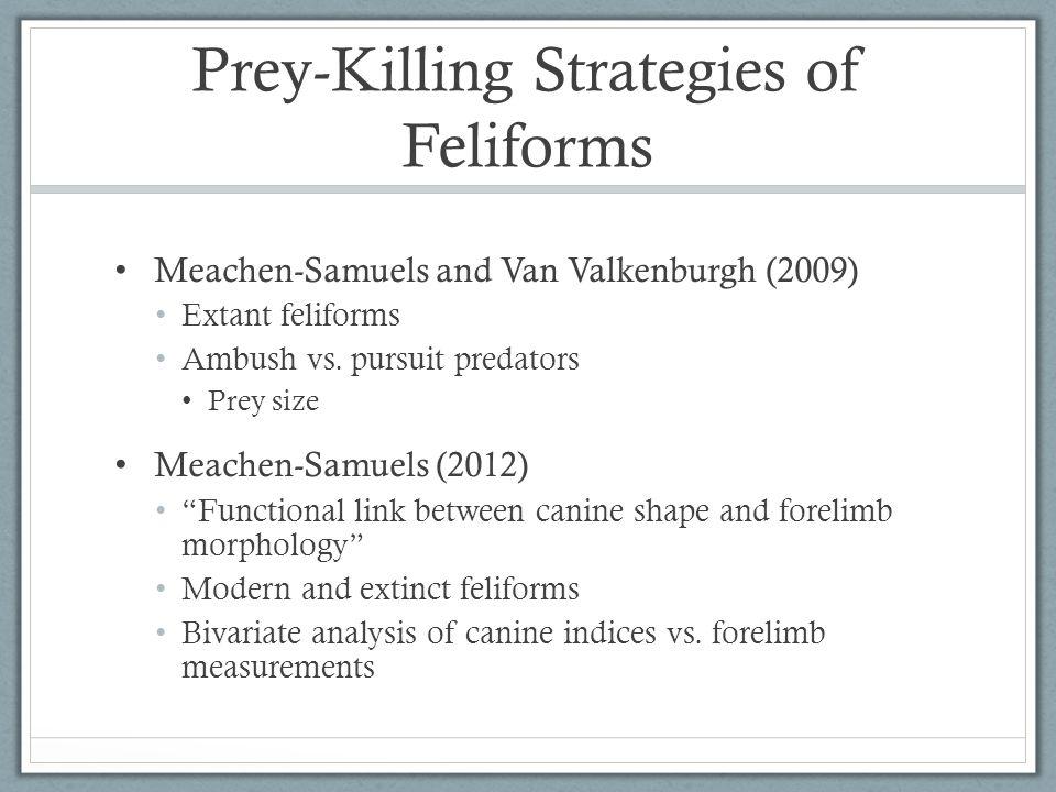 Prey-Killing Strategies of Feliforms Meachen-Samuels and Van Valkenburgh (2009) Extant feliforms Ambush vs.