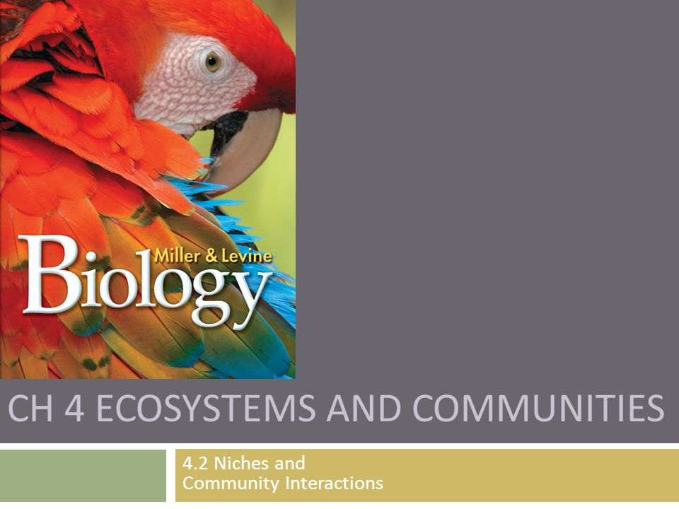 CH 4 ECOSYSTEMS AND COMMUNITIES 4.2 Niches and Community Interactions