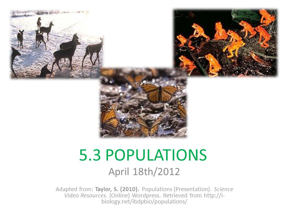 5.3 POPULATIONS April 18th/2012 Adapted from: Taylor, S. (2010). Populations (Presentation). Science Video Resources. [Online] Wordpress. Retrieved fr