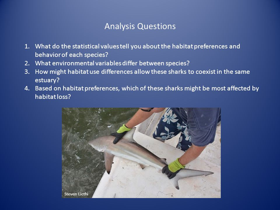 Analysis Questions 1.What do the statistical values tell you about the habitat preferences and behavior of each species? 2.What environmental variable