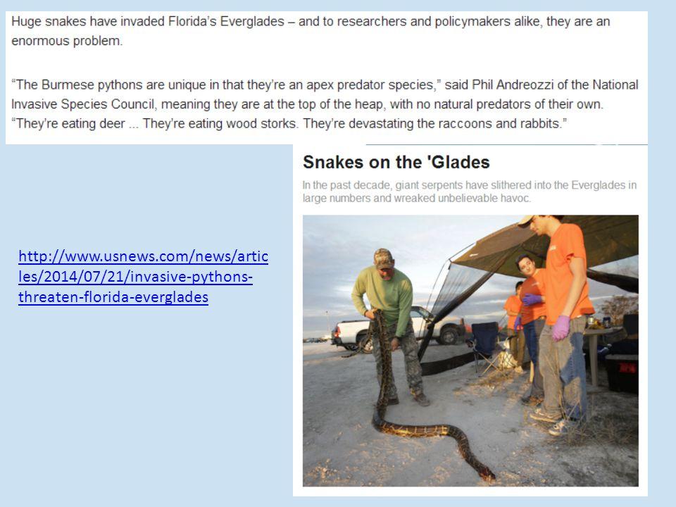 http://www.usnews.com/news/artic les/2014/07/21/invasive-pythons- threaten-florida-everglades