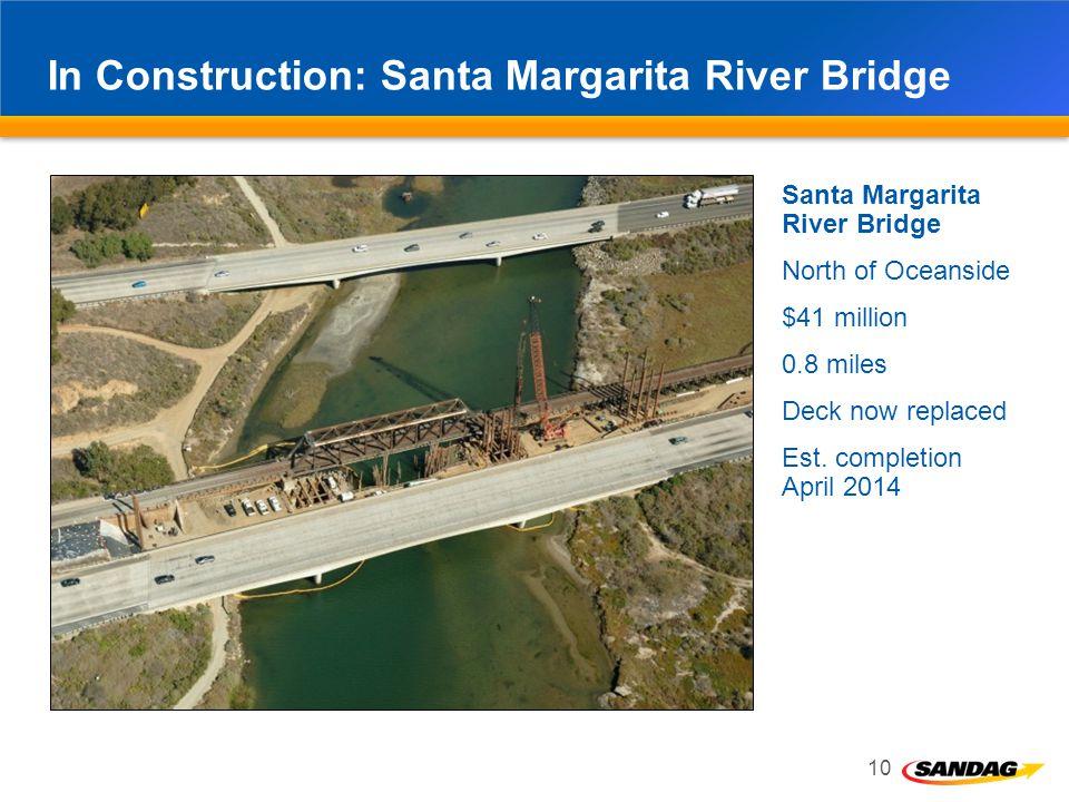 In Construction: Santa Margarita River Bridge 10 Santa Margarita River Bridge North of Oceanside $41 million 0.8 miles Deck now replaced Est.