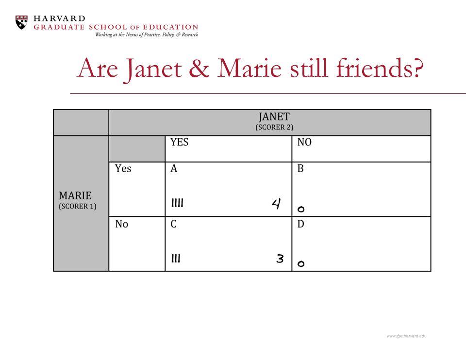 www.gse.harvard.edu Are Janet & Marie still friends