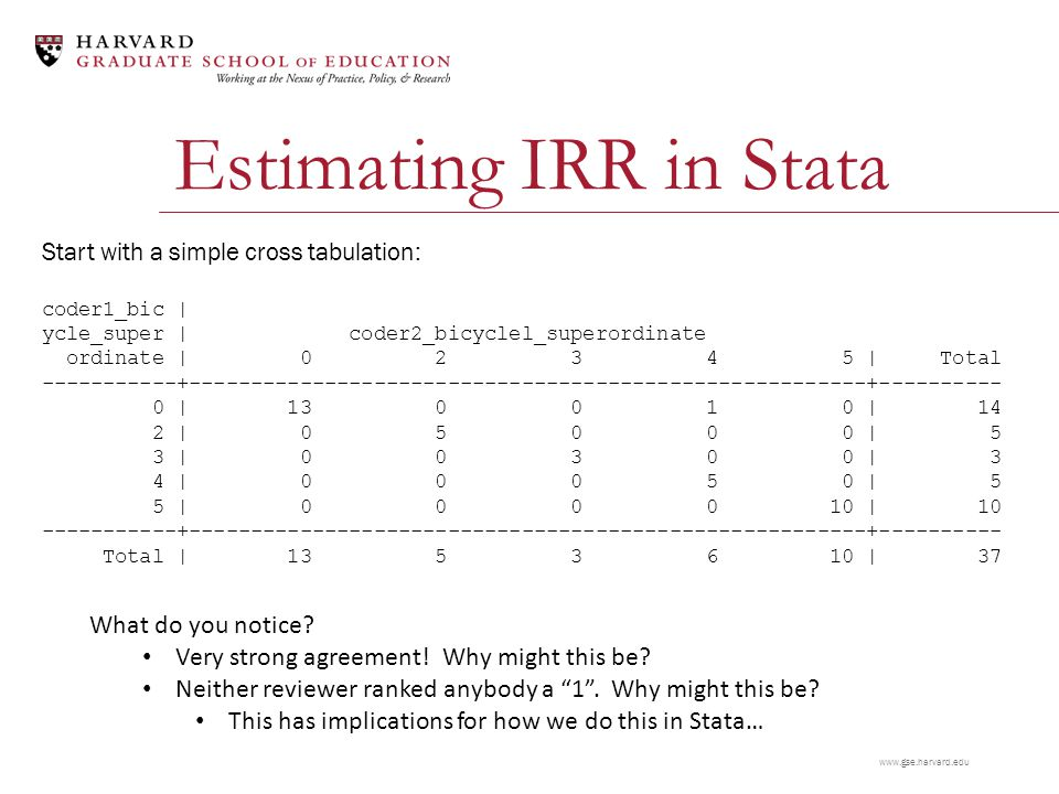 www.gse.harvard.edu Estimating IRR in Stata Start with a simple cross tabulation: coder1_bic | ycle_super | coder2_bicyclel_superordinate ordinate | 0 2 3 4 5 | Total -----------+-------------------------------------------------------+---------- 0 | 13 0 0 1 0 | 14 2 | 0 5 0 0 0 | 5 3 | 0 0 3 0 0 | 3 4 | 0 0 0 5 0 | 5 5 | 0 0 0 0 10 | 10 -----------+-------------------------------------------------------+---------- Total | 13 5 3 6 10 | 37 What do you notice.