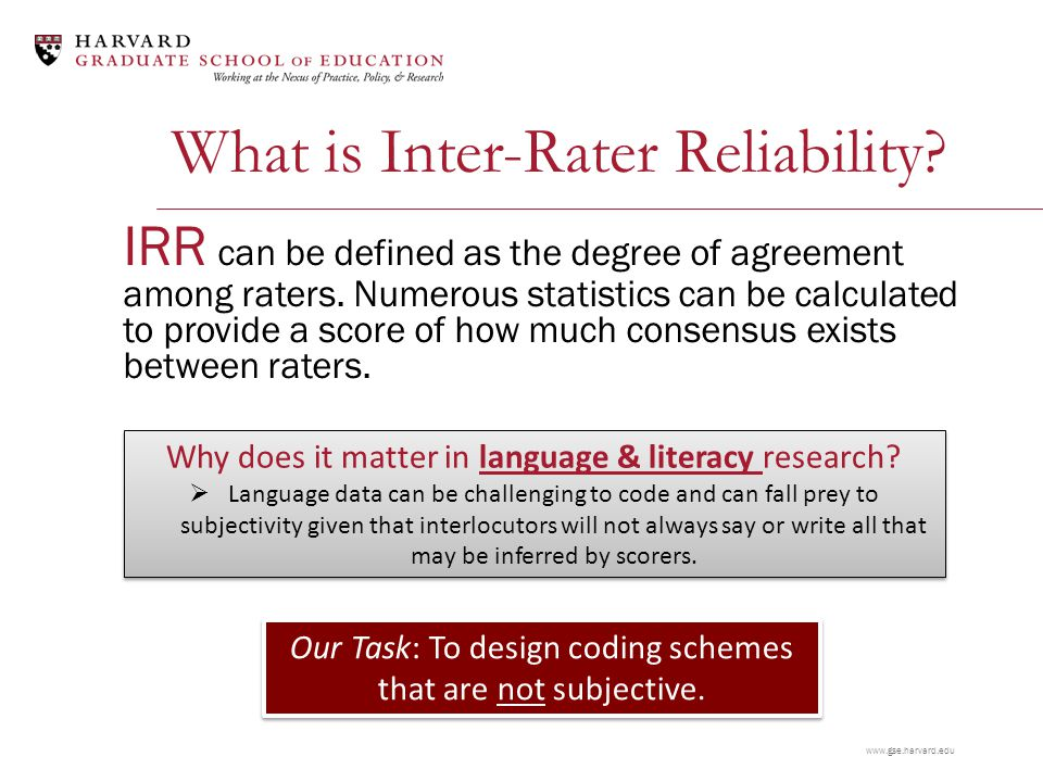 www.gse.harvard.edu What is Inter-Rater Reliability.