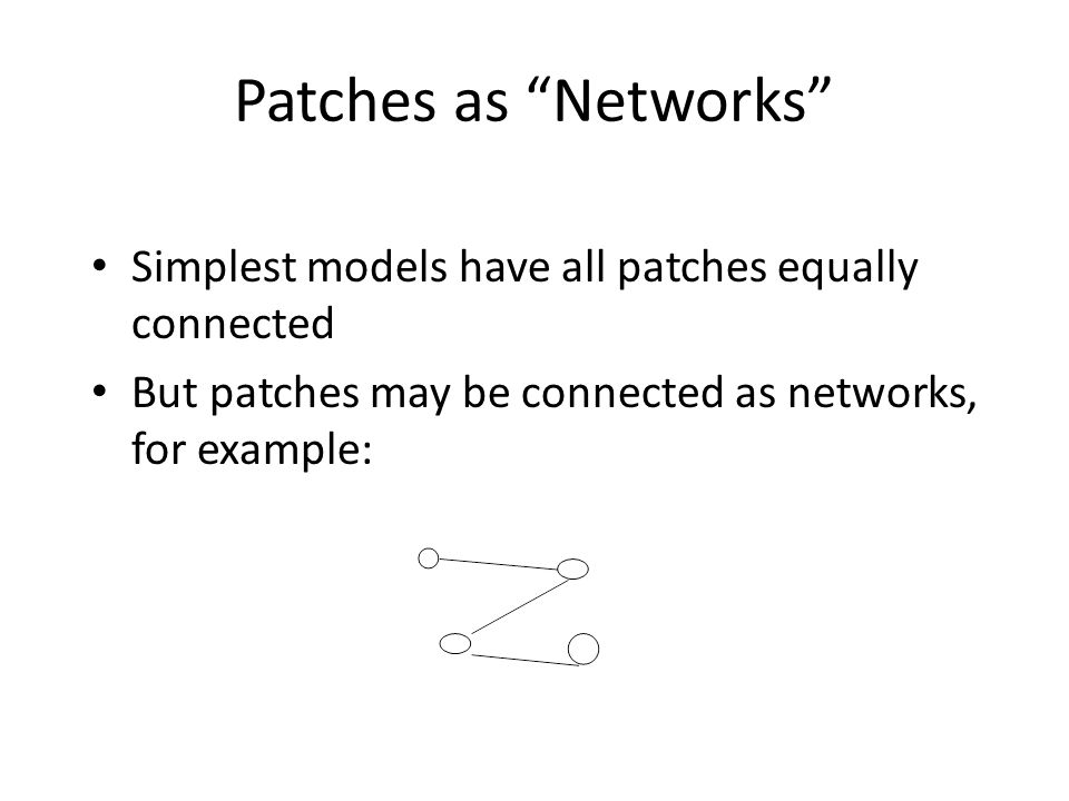 """Patches as """"Networks"""" Simplest models have all patches equally connected But patches may be connected as networks, for example:"""
