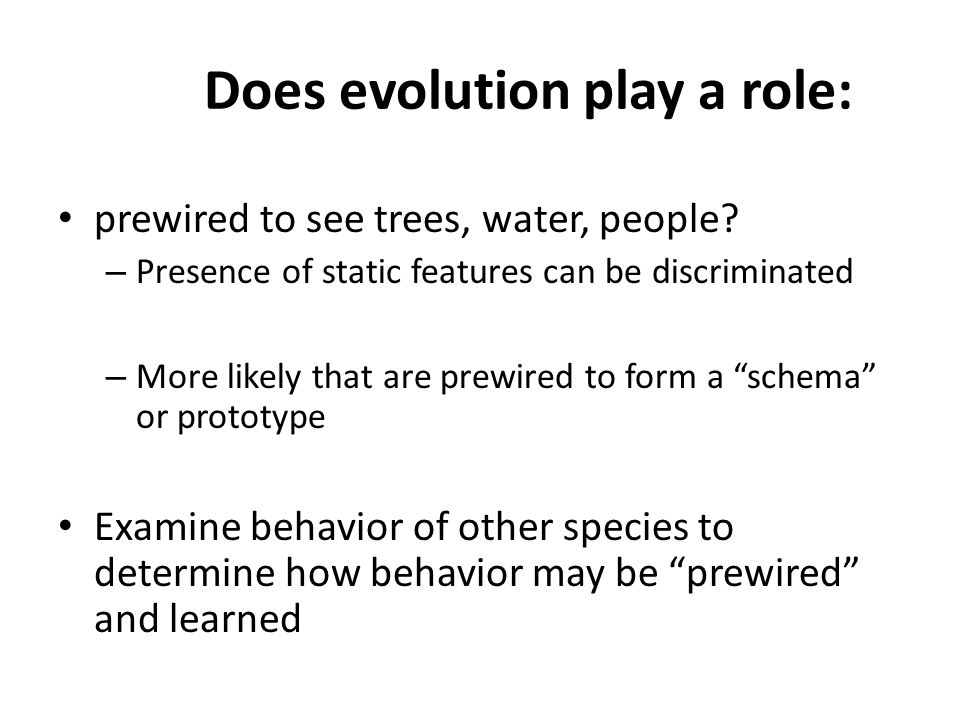 Does evolution play a role: prewired to see trees, water, people.