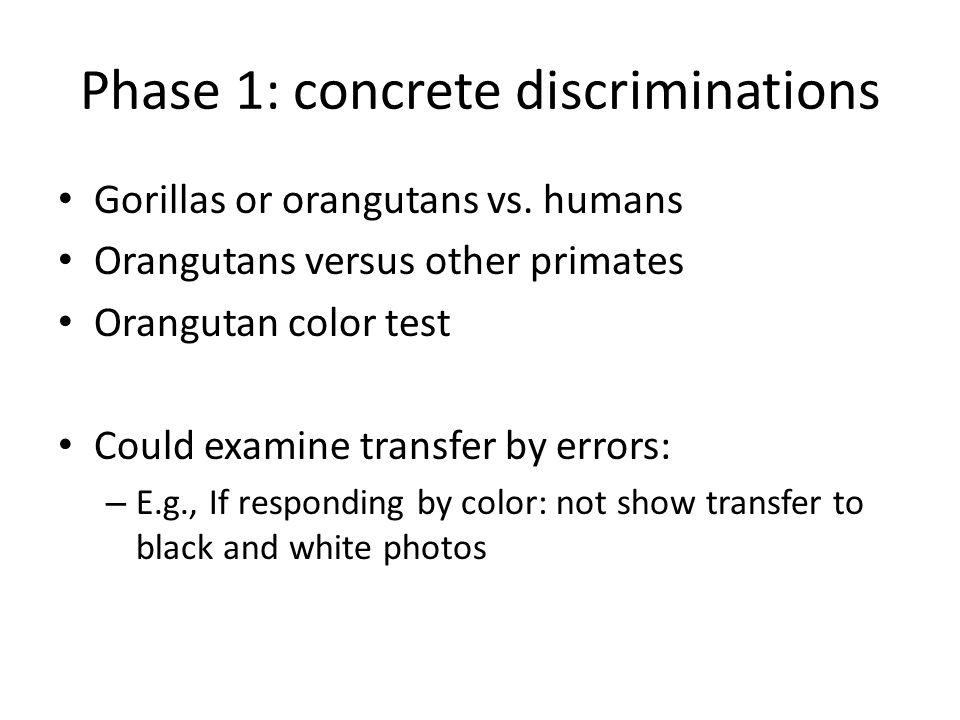Phase 1: concrete discriminations Gorillas or orangutans vs. humans Orangutans versus other primates Orangutan color test Could examine transfer by er