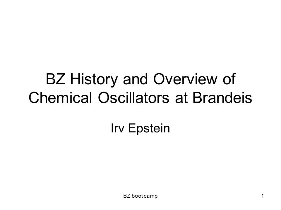 BZ boot camp1 BZ History and Overview of Chemical Oscillators at Brandeis Irv Epstein