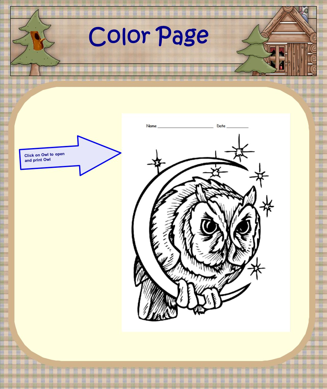 Click on Owl to open and print Owl Color Page
