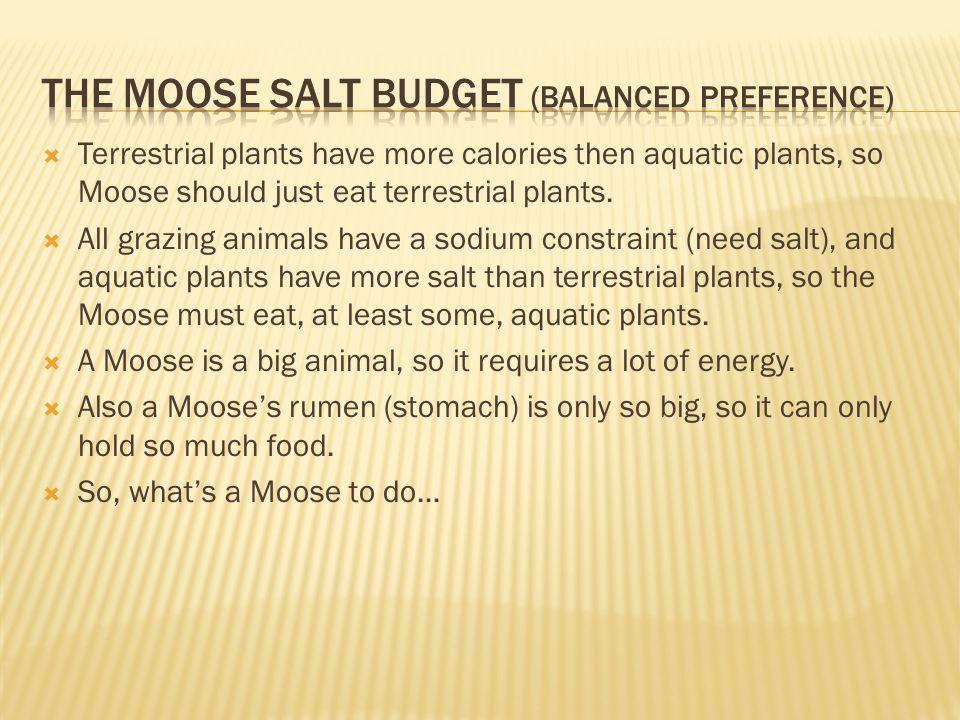  Terrestrial plants have more calories then aquatic plants, so Moose should just eat terrestrial plants.  All grazing animals have a sodium constrai