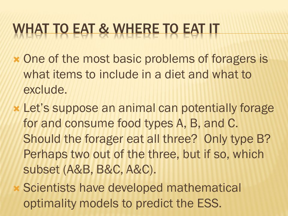  One of the most basic problems of foragers is what items to include in a diet and what to exclude.