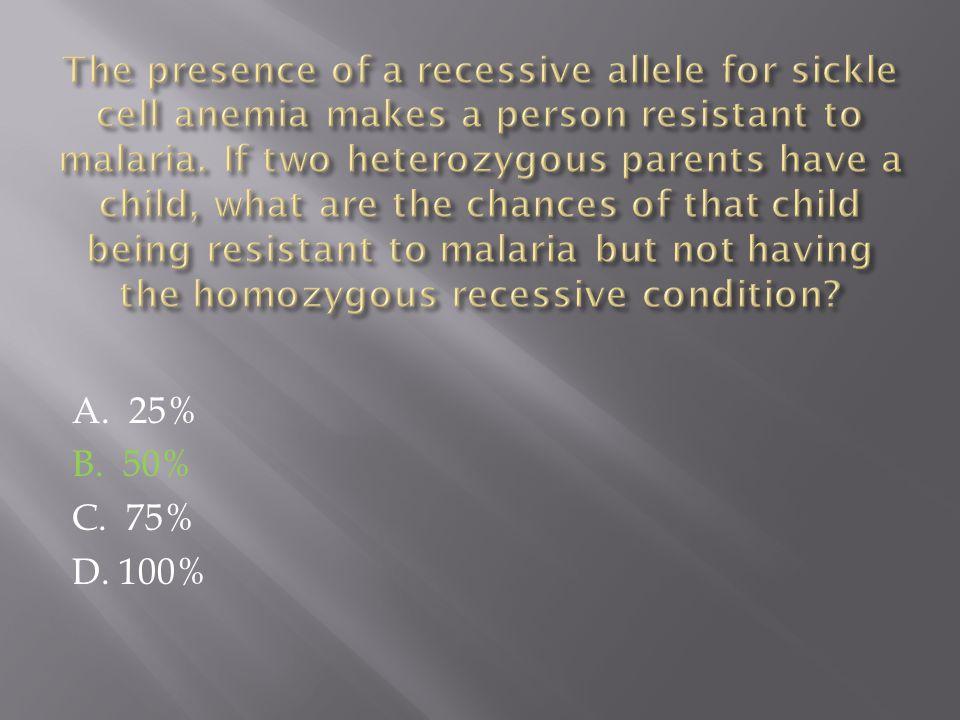 A. 25% B. 50% C. 75% D. 100%