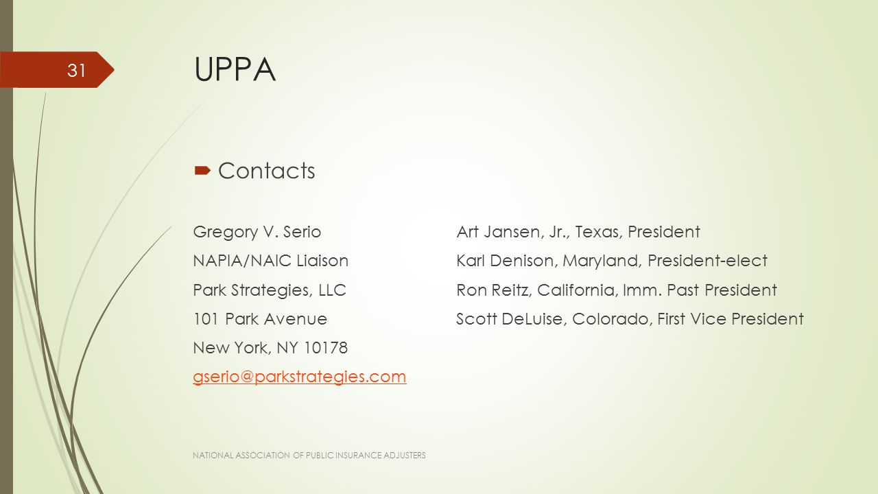 UPPA  Contacts Gregory V.