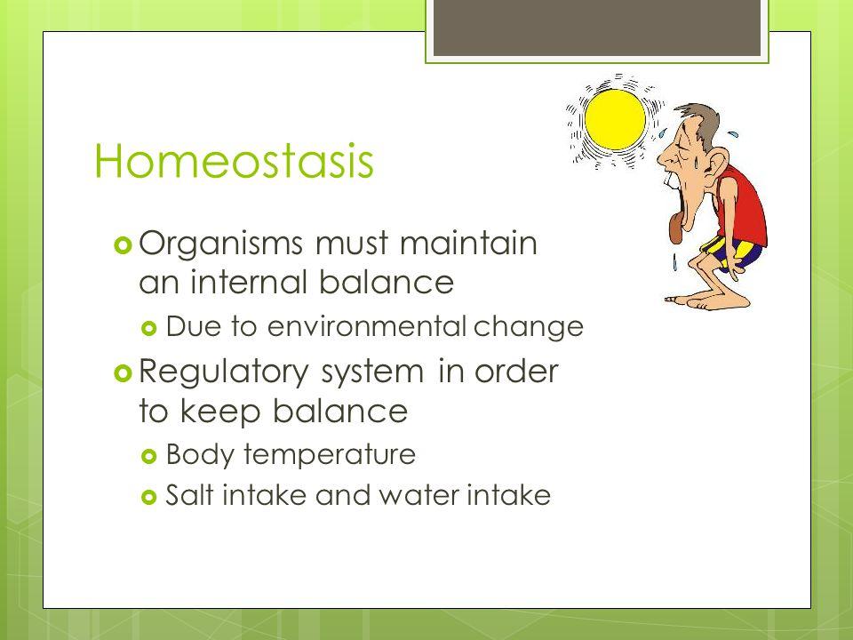 Homeostasis  Organisms must maintain an internal balance  Due to environmental change  Regulatory system in order to keep balance  Body temperature  Salt intake and water intake