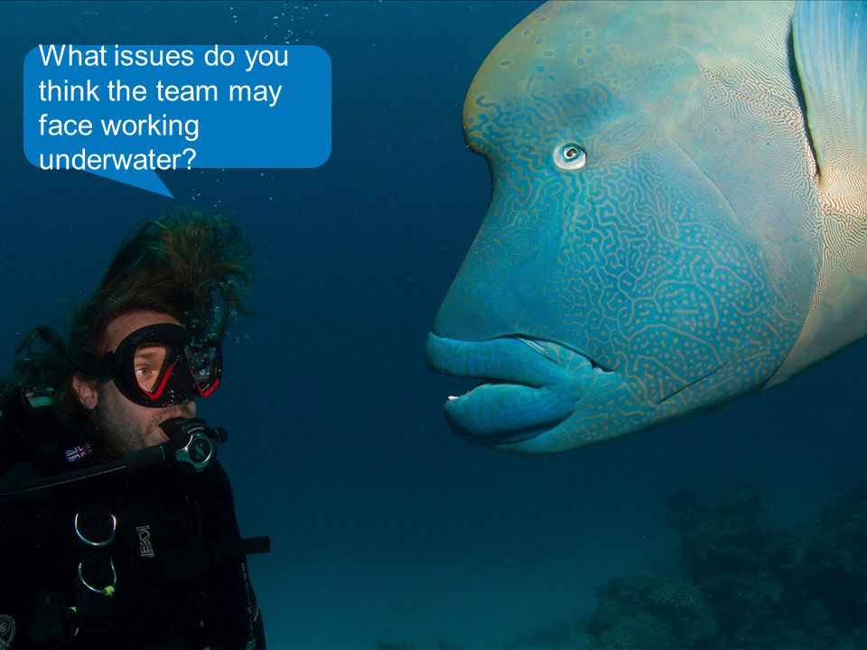 What issues do you think the team may face working underwater?