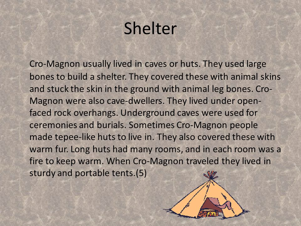 Fire was a vital part of the Cro-Magnon people's culture. Fire was the only source of heat and light in the caves in which they lived. The fire in fro