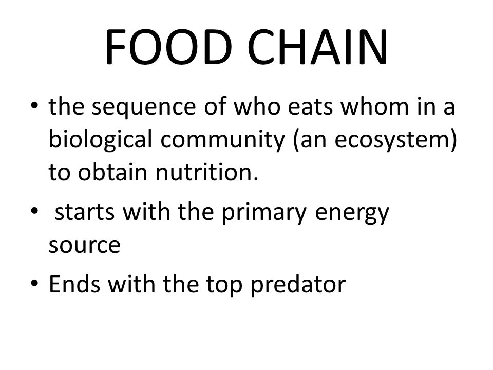 FOOD CHAIN the sequence of who eats whom in a biological community (an ecosystem) to obtain nutrition. starts with the primary energy source Ends with