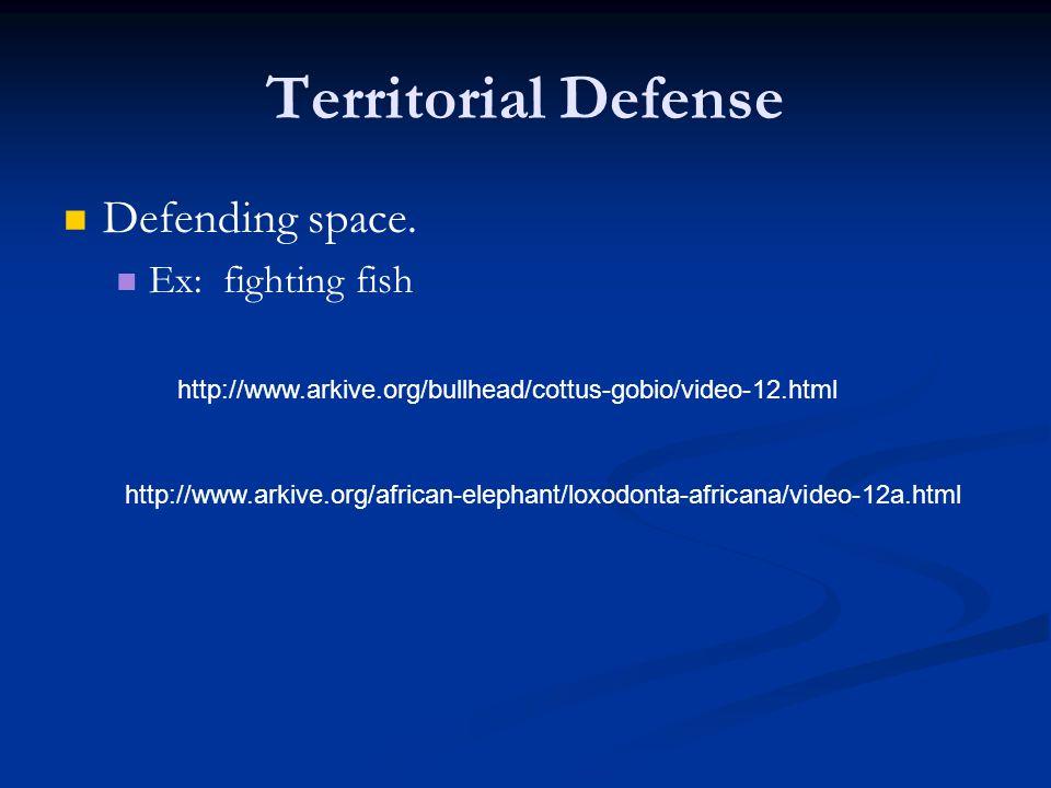 Territorial Defense Defending space. Ex: fighting fish http://www.arkive.org/bullhead/cottus-gobio/video-12.html http://www.arkive.org/african-elephan