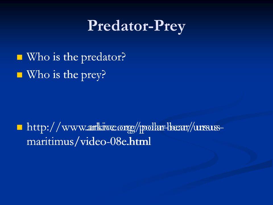 Predator-Prey Who is the predator.Who is the prey.