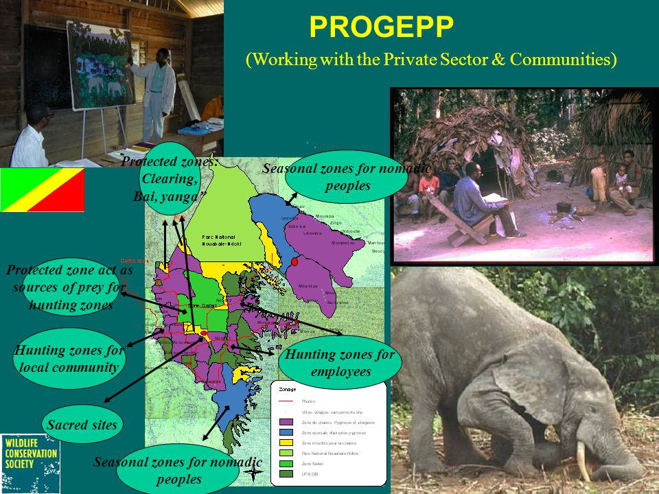 PROGEPP (Working with the Private Sector & Communities) Hunting zones for local community Seasonal zones for nomadic peoples Seasonal zones for nomadic peoples Hunting zones for employees Sacred sites Protected zone act as sources of prey for hunting zones Protected zones: Clearing, Bai, yanga''
