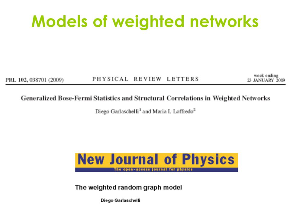 Models of weighted networks