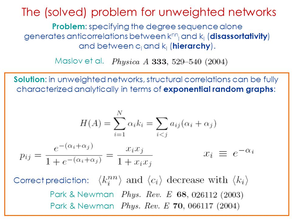 The (solved) problem for unweighted networks Maslov et al. Problem : specifying the degree sequence alone generates anticorrelations between k nn i an