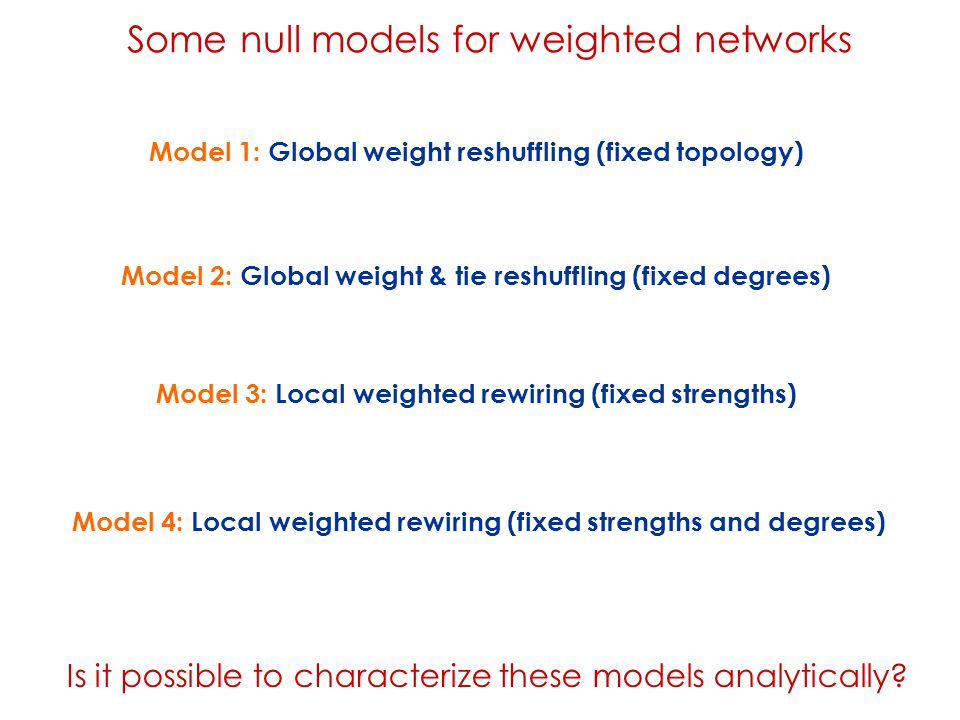 Model 3: Local weighted rewiring (fixed strengths) Model 4: Local weighted rewiring (fixed strengths and degrees) Model 1: Global weight reshuffling (