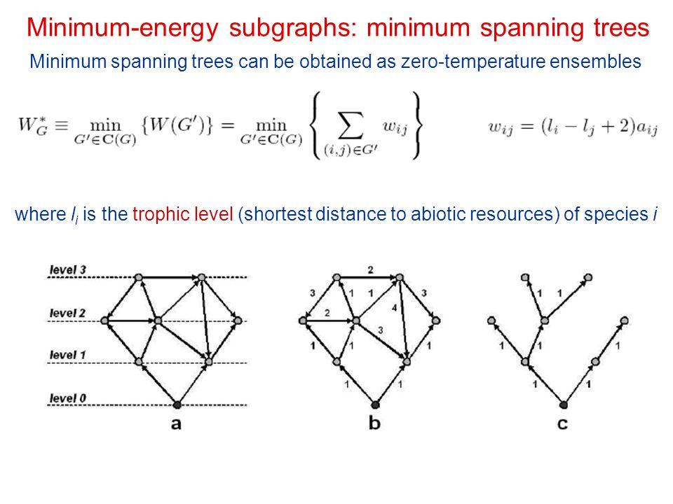 Minimum-energy subgraphs: minimum spanning trees Minimum spanning trees can be obtained as zero-temperature ensembles where l i is the trophic level (