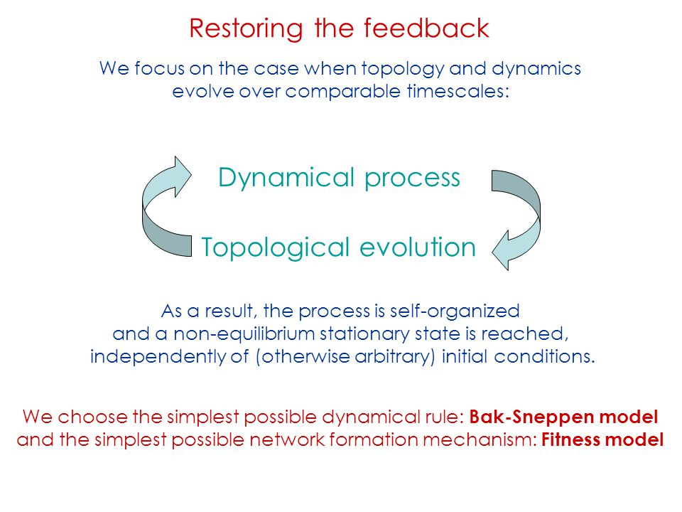 Restoring the feedback Dynamical process Topological evolution We focus on the case when topology and dynamics evolve over comparable timescales: As a