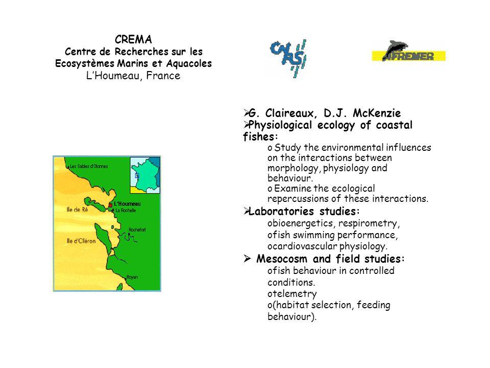 CREMA Centre de Recherches sur les Ecosystèmes Marins et Aquacoles L'Houmeau, France  G.