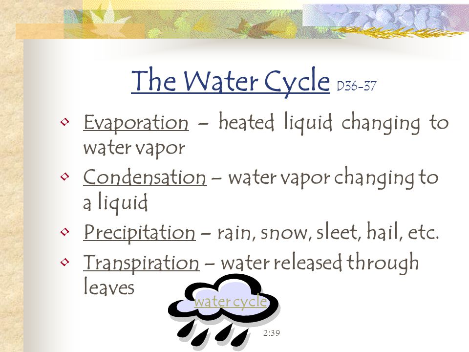 The Water Cycle D36-37 Evaporation – heated liquid changing to water vapor Condensation – water vapor changing to a liquid Precipitation – rain, snow,