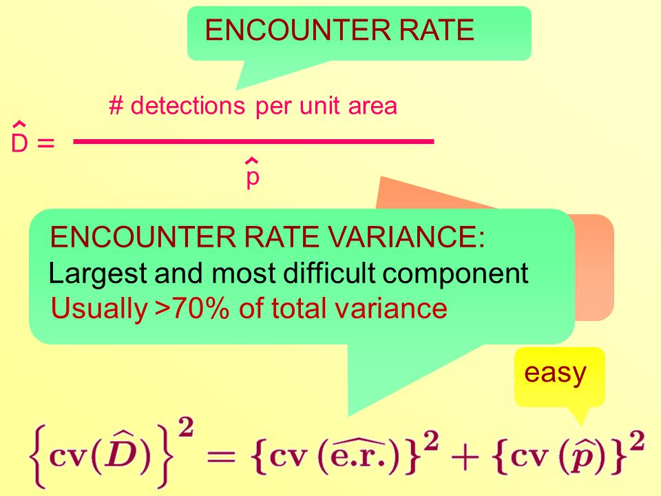 Estimate the variance of the ratio by the Delta method: squared CVs add D # detections per unit area = p ENCOUNTER RATE easy ENCOUNTER RATE VARIANCE: Largest and most difficult component Usually >70% of total variance